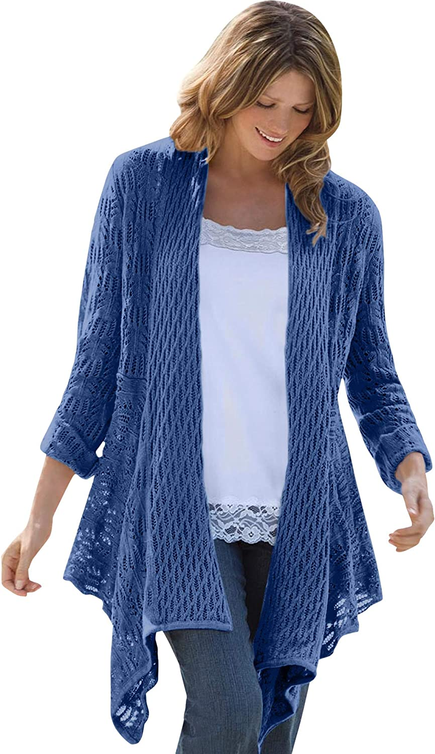 Woman Within Women's Plus Size Open Front Pointelle Cardigan Sweater