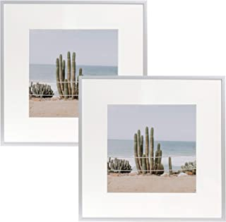 Frametory, Set of 2, 12x12 Silver Aluminum Frame - Includes Ivory Mat for 8x8 Picture - Gallery Wall Display - Sawtooth Hanger, Swivel Tabs - Great for Photos, Artworks, Weddings