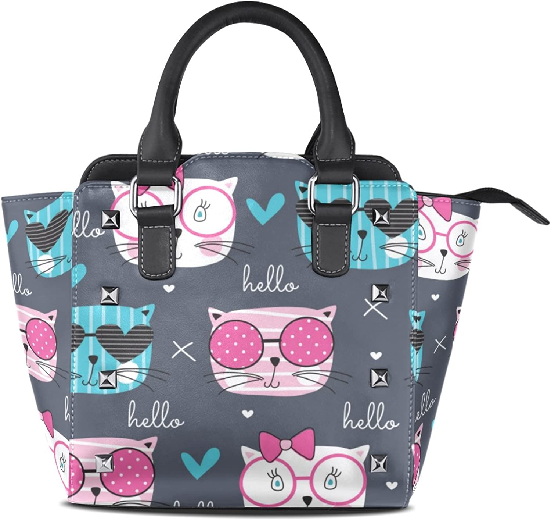 My Little Nest Women's Top Handle Satchel Handbag Fashion Cats Ladies PU Leather Shoulder Bag Crossbody Bag