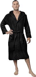 Bathrobe Men 100% Cotton OEKO-TEX® Certified - Premium Dressing Gown Mens Absorbent Towelling with Hood, 2 Pockets, Belt