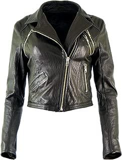 DX Women's Genuine Lambskin Leather Jacket Biker Style Motorcycle Ramones Rock Black Jacket Short KKLK-0004
