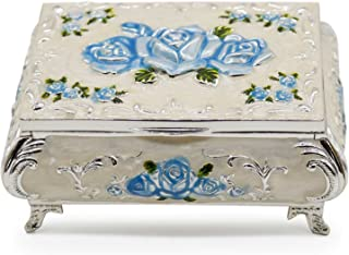 AVESON Luxury Vintage Rectangular Metal Alloy Jewelry Box Organizer Storage Box Ring Trinket Case for Women Girls, Christmas Birthday Gift, Small, Silver & Light Blue