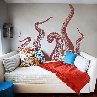 MairGwall Tentacles Wall Decal Kraken Octopus Tentacles Wall Sticker Sea Animal Wall Decal Mural Home Art Decor Dark Red