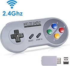 Zarcdo 2.4GHz Wireless Controller for SNES/SFC Classic Edition(SNES/SFC Mini), Rechargeable Wireless Gamepad with Retro/USB Receiver for Super NES Classic Edition
