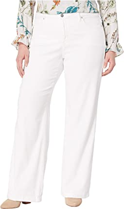 Plus Size Wide Leg Trouser w/ Clean Hem in Optic White