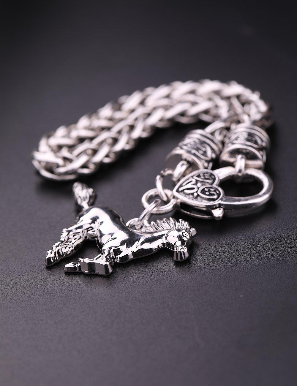 VASSAGO Vintage Norse Viking Runes Axes Helmet Mask Celtic Irish Knot Pendant Amulet Wheat Chain Bracelet