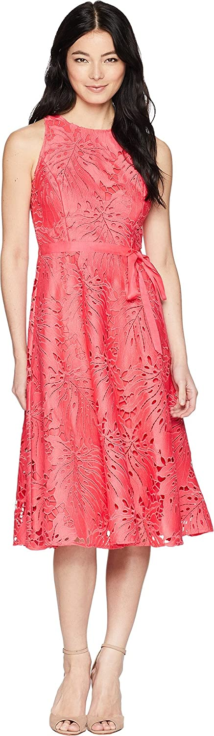Tahari By ASL Womens Petite Sleeveless Chemical Lace Fit and Flare Midi