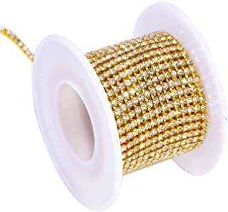 BLINGINBOX Rhinestones Chain 10 Yards SS8/2.5mm Crystal Glass Sew On Rhinestones Cup Chain With Gold Bottom Sew On Trim(ss8-2.5mm,Crystal-Gold Bottom)