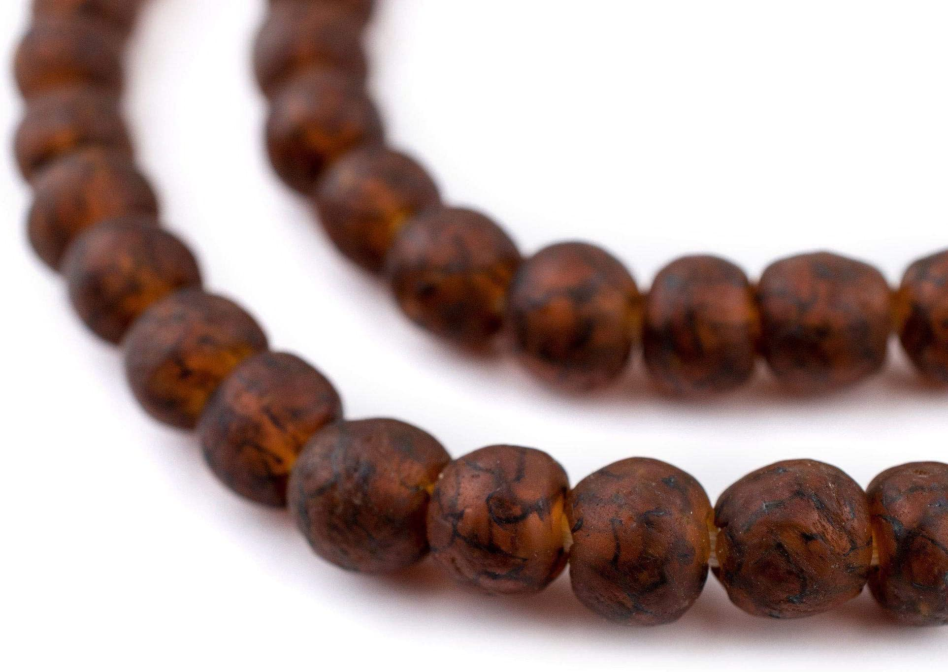 Handmade powder glass recycled beads Krobo ethnic tribal necklace African trade