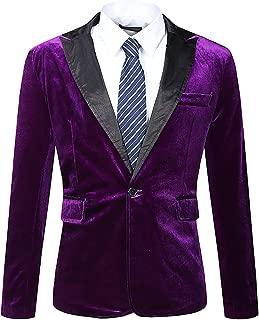 Men's Modern Fit Casual Velvet One Button Blazer Jacket
