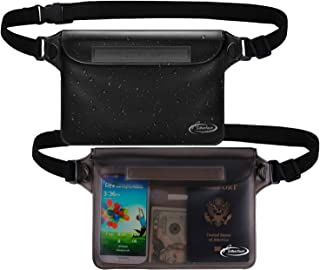 AiRunTech Waterproof Pouch with Waist Strap (2 Pack) | Beach Accessories Best Way to Keep Your Phone and Valuables Safe and Dry | Perfect for Boating Swimming Snorkeling Kayaking Beach Poo(Gray+Black)