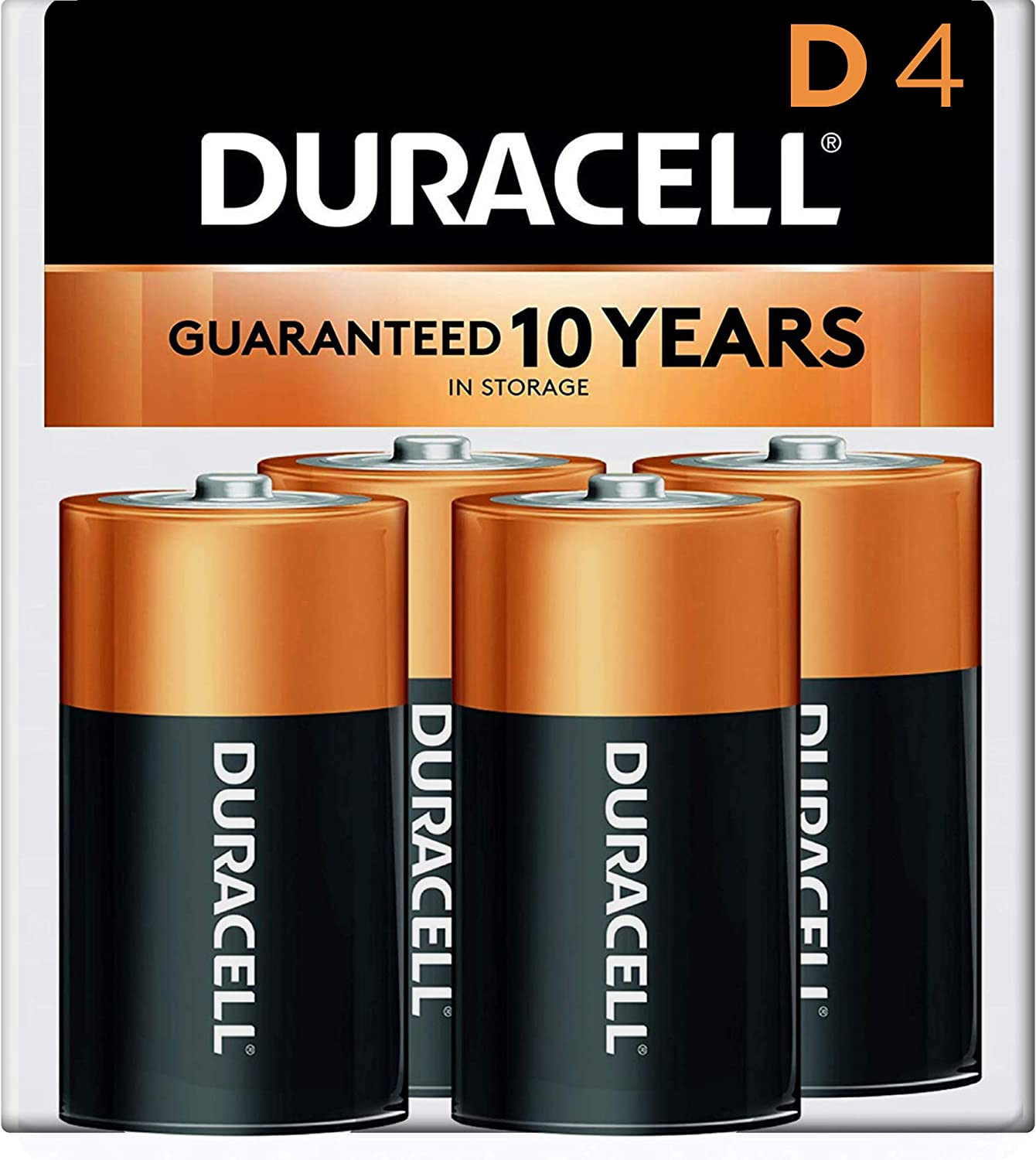 Amazon Com Duracell Coppertop D Alkaline Batteries With Recloseable Package Long Lasting All Purpose D Battery For Household And Business 4 Count Health Household