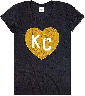 Charlie Hustle Womens Vintage Black & Gold Missouri KC Heart T-Shirt