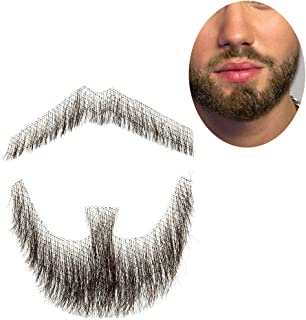 100% Human Hair Fake Men's Man Beard Makeup Mustache for Costume and Party Cosplay (Brown)