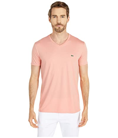 Lacoste Short Sleeve V-Neck Pima Jersey Tee (Elf Pink) Men
