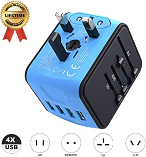 Travel Adapter JMFONE International Tavel Power Adapter 4 USB Wall Charger Worldwide Travel Charger Universal AC Wall Outlet Plugs for US, EU, UK, AU 160 Countries (Blue)
