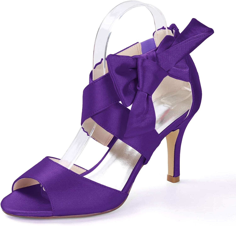 Creativesugar Women's Orange Bow Sandals Satin Dress Shoes Bridal Wedding Heels, Party Show Shoes