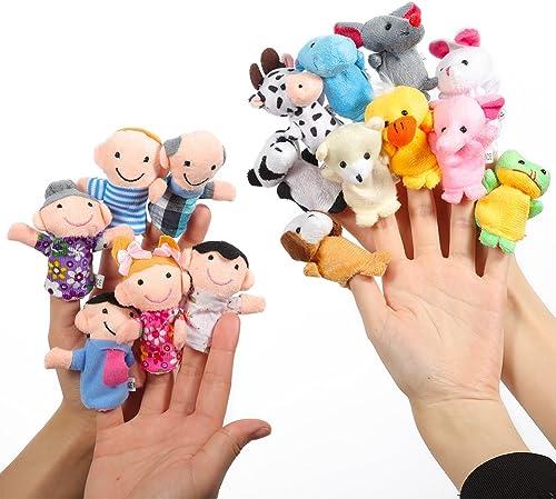 Twister.CK Marionnettes à Doigts L'heure du Conte 16 pièces - 10 Animaux et 6 Personnes Membres de la Famille Marionn...