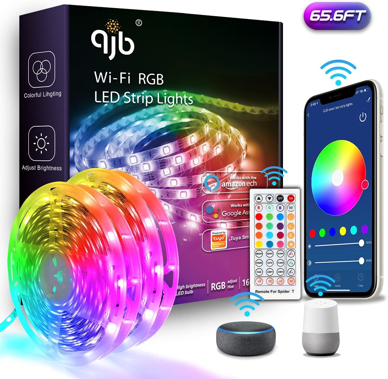 QJB Alexa LED Strip Tampa Mall Lights Selling rankings - 65.6ft Smart WiFi