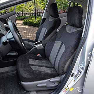 Velvety Smooth - Soft Velour 2pc Car Seat Covers for Front Bucket Auto Seats (Black & Charcoal Gray)