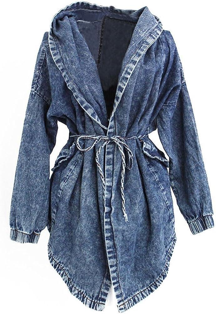 FeelMeStyle Women Casual Denim Jacket Lapel 3/4 Sleeve Long Trench Windbreaker Hooded