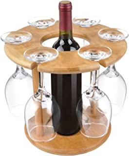 Royal Brands Bamboo Wine Glass Drying Rack and Bottle Holder - 6 Wine Glass Counter Top Storage (Wine Glasses Not Included)
