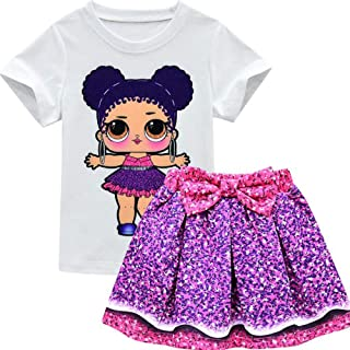 Toddler Girls Kids Outfits Popular Cartoon Characters T-Shirt and Skirt Clothes Sets,Style1,110cm