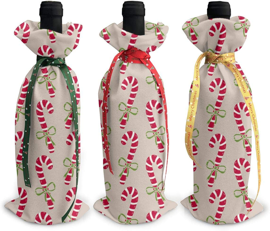 Bowknot Art Candy Canes Christmas3Pcs Max 72% OFF Wine Xmas Gl Christmas discount Red