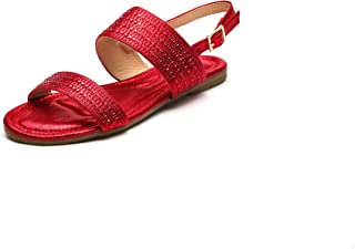 A-EILLEEN01 Sparkly Ankle Strap Flat Sandals for Women