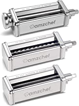 Pasta Roller & Cutter Attachments 3-in-1 Set for KitchenAid Stand Mixers, AMZCHEF Stainless Steel Pasta Maker Accessories,...
