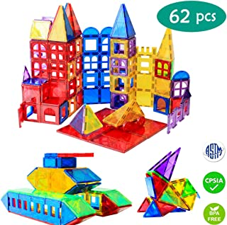Magnet Toys - 62pcs 3D Magnetic Building Blocks Set, STEM Magnetic Tiles Educational Toys for Toddlers | Creativity, Imagination, Inspiration (62)