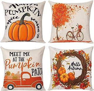 JOIBA 4pcs Fall Pillow Covers 18 x 18 Inches Pumpkin Throw Pillowcase Autumn Decorations Farmhouse Thanksgiving Cushion Case for Home Decor…