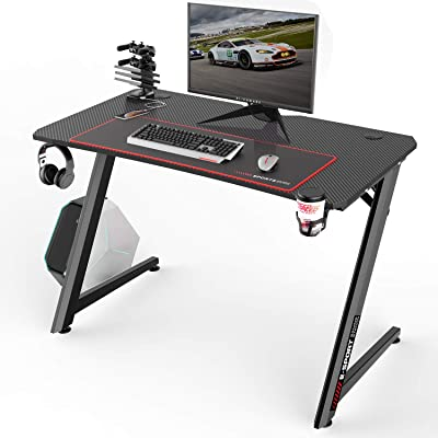 Vitesse Gaming Desk Racing Style Computer Desk with Free Mouse pad, Z-Shapped Professional Gamer Game Station with USB Gaming Handle Rack, Cup Holder & Headphone Hook (Classic Black, 44 inch)