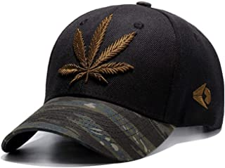 2019 Embroidery Maple Leaf Cap Weed Snapback Hats for Men Women Cotton Fitted Baseball Caps