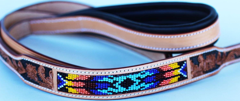 Handmade Beaded Leather Dog Collar Leash Padded Handle 60069