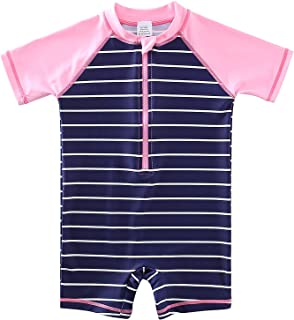Yeahdor Kids Boys Girls Short Sleeves Rash Guard Swimwear One Piece Swimming Costume Shorty Wetsuit with Zip UPF 50+