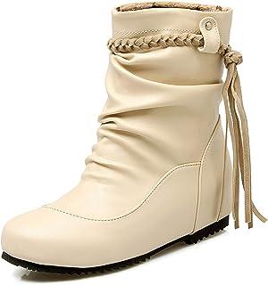 ASDEF Bottes Cowboy Cuir Semelle Caoutchouc Cuir pour Rivet Bottes Courtes Pull on Bottes Décontractées Confortable Bottes...