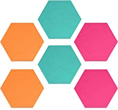 Navaris Hexagon Felt Board Tiles - Set of 6 Notice Memo Bulletin Boards with Push Pins Pack 5.9 x 7 inches (15 x 17.7 cm) ...