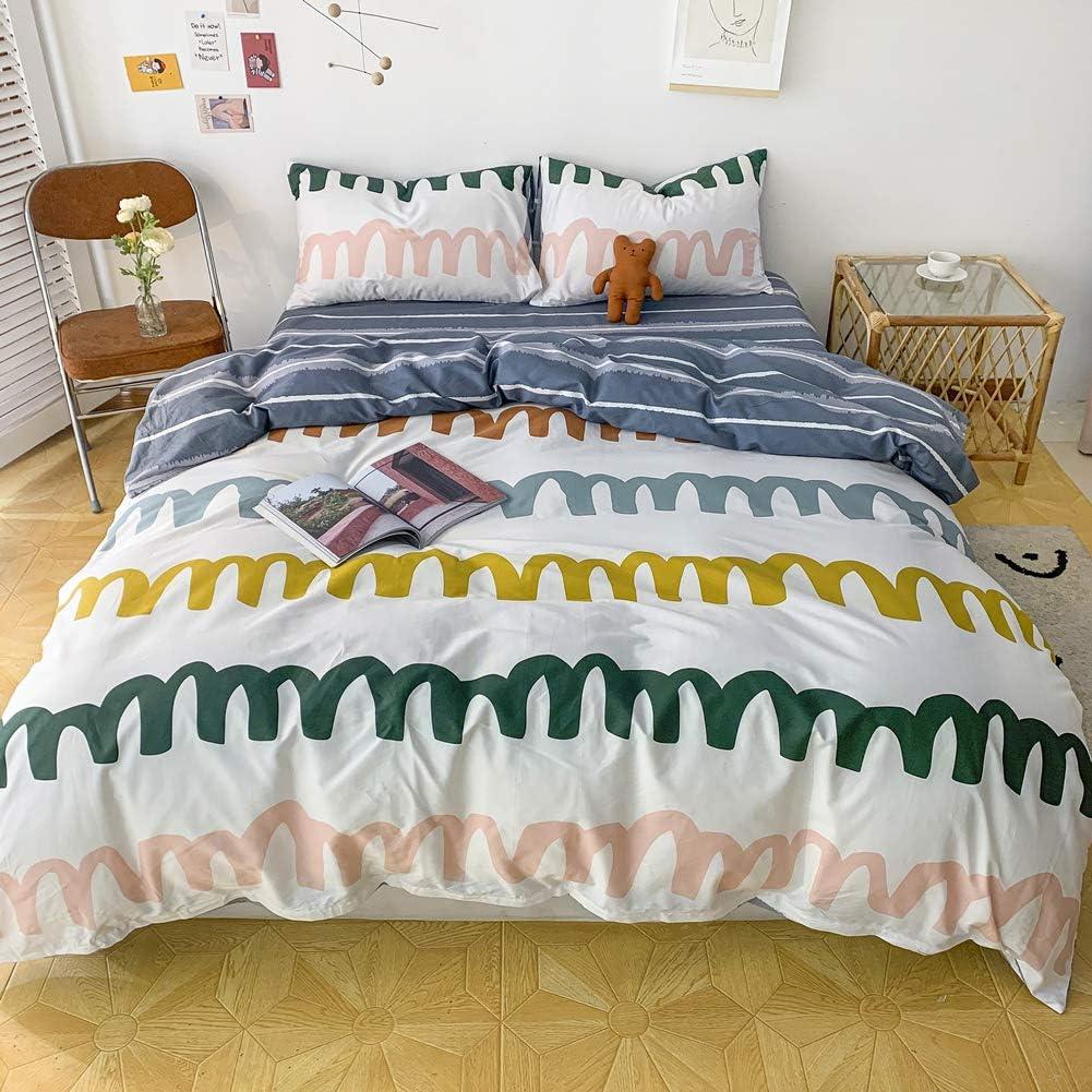 BlueBlue Rainbow Duvet Cover Set Twin 100/% Cotton Bedding for Kids Boys Girls Teens Colorful Geometric Check Grid 1 Rainbow Plaid Comforter Cover Zipper Ties 2 Pillowcases Twin