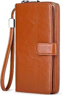 Huztencor - Portafogli lunghi da uomo e donna, in pelle con blocco RFID, porta carte di credito, con cinturino da polso - ...