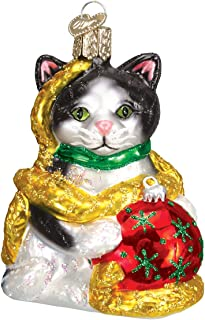 Old World Christmas Glass Blown Ornament with S-Hook and Gift Box, Cat Collection (Holiday Kitten)