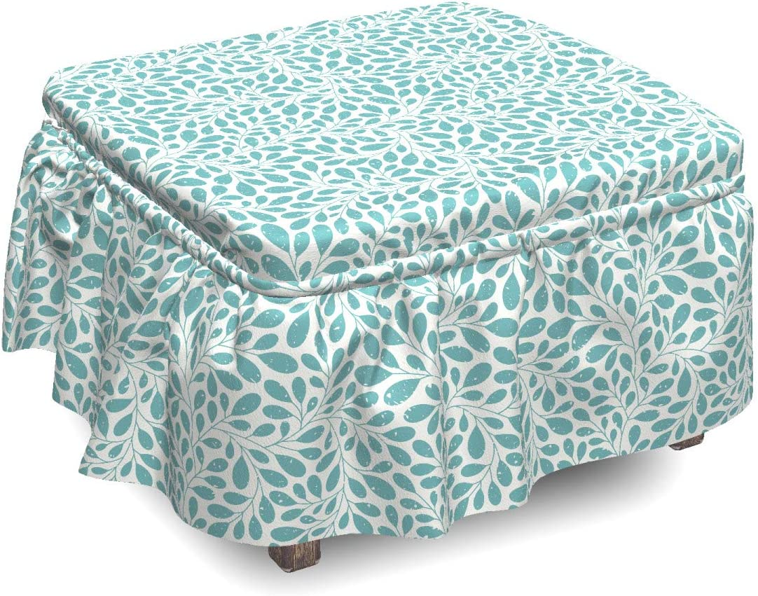 Lunarable Green Oriental Ottoman Discount Max 63% OFF mail order Cover Leaf Piec 2 Grungy Stem