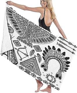 Strandhanddukar för vuxna, indianer fjäder pannband etnisk tipi tält rosett och pil konst stort badlakan lätt strandhanddu...