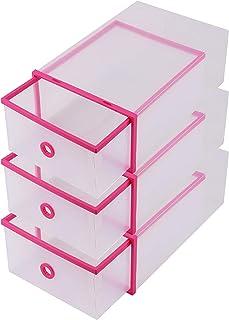 Cajas para Guardar Zapatos (3 Piezas) - Caja de Zapatos Plástico Transparente Corrugado Zapatos Pantuflas - Cajas Estilo Cajón Apilable y Plegable - Caja Zapatos Organizador Botas ideal para Viajes