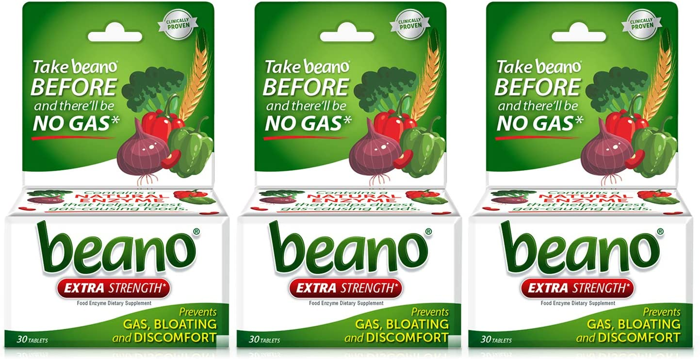 Beano Extra Strength, Gas Prevention & Digestive Enzyme Supplement, 30 Count, 3 Pack : Health & Household