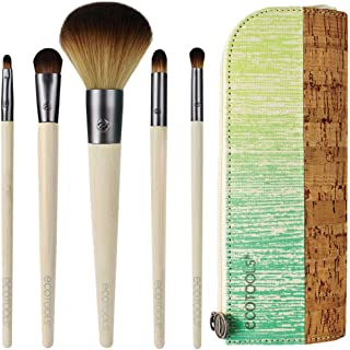 EcoTools 6 Piece Day To Night Clutch Set, Includes: Pointed Concealer, Round Powder, Detailed Lip, Stay-There Eyeshadow & Smudge Brushes, Plus Cosmetic Bag, Cruelty Free