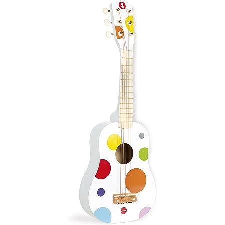Janod - Guitare en Bois Confetti - Instrument de Musique Enfant - Jouet d'imitation et d'Éveil Musical - Rouge - Dès 3 Ans, J07598