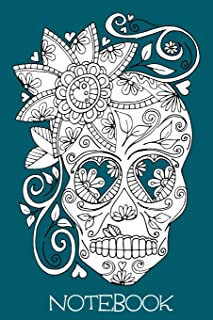 Notebook: Teal Illustrated Sugar Skull 6x9 Blank Lined Notebook with 120 pages
