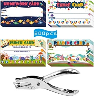 Cualfec 200 Punch Cards for Kids with 4 Designs - Homework Card, Reading Card, Chore Card, Punch Card Perfect Reward Card ...