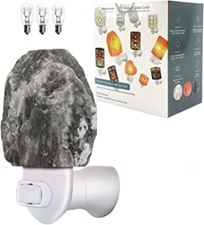 Art Deco Rare Grey Gray Mini Himalayan Salt Rock Night Light Lamp Lights Glow Hand Carved Natural Crystal , Himalayan Night Lights Wall Light with UL Approved Wall Plug for Decoration and Lighting
